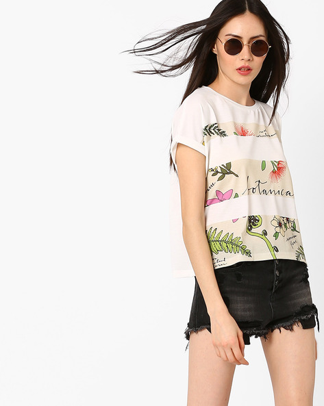 Botanical Print Top With Extended Sleeves By RIO ( White )