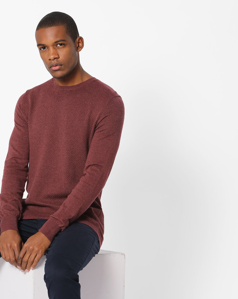 Textured Crew-Neck Pullover With Ribbed Hems By Celio ( Burgundy )