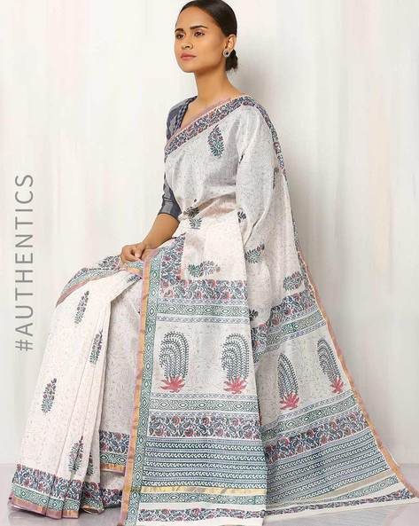 Handblock Printed Chanderi Saree By Indie Picks ( Multi )