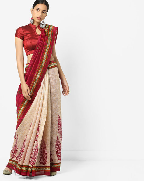 Chapa Silk Saree With Contrast Border By Florence ( Pink )