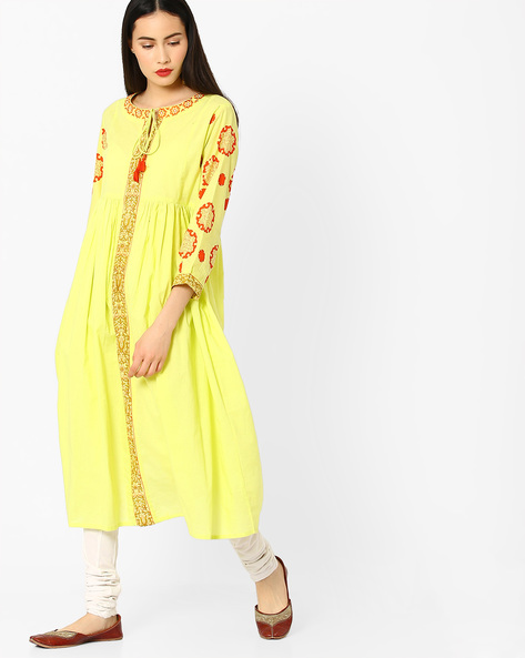Printed Fit & Flare Dress With Tassels By Jiyaa ( Limegreen )