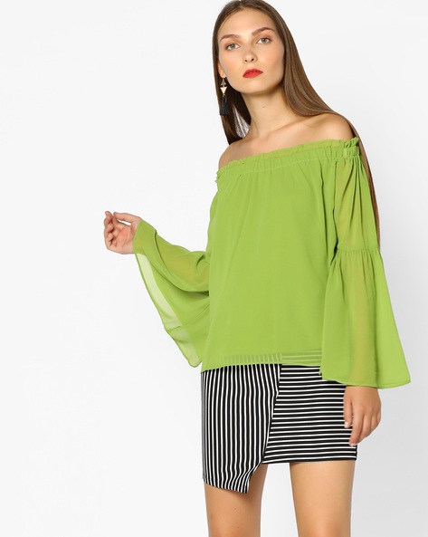 Off-Shoulder Top With Ruffle Detail By AJIO ( Olive )