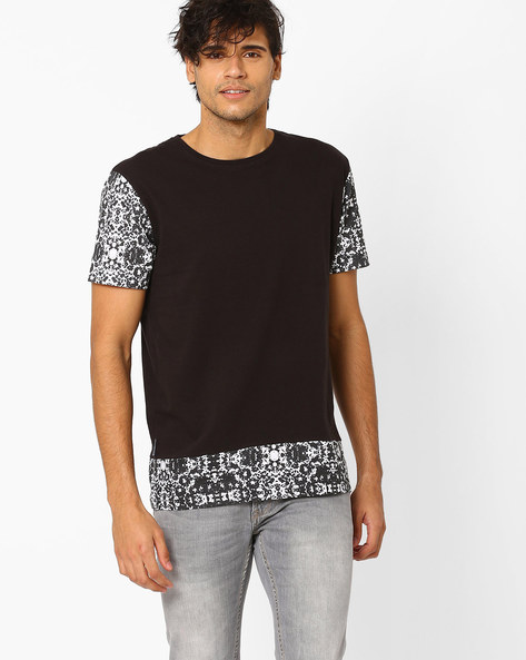 Crew Neck Slim T-shirt With Printed Sleeves & Hem By Blue Saint ( Blackwhite )