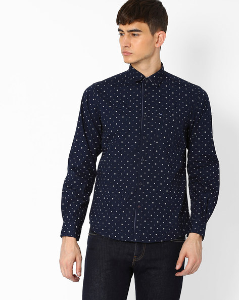 Floral Print Cotton Shirt By Pepe Jeans ( Navy )