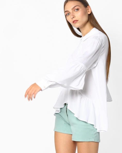 Shirt Top With Bell Sleeves By Rena Love ( White )