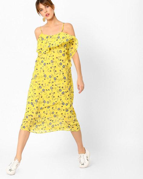 Floral Print Strappy Midi Dress By AJIO ( Yellow )