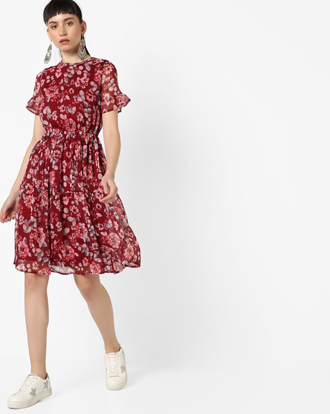Floral Print Fit & Flare Dress By Oxolloxo ( Red )