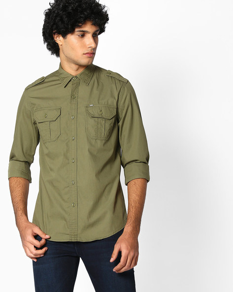 Slim Fit Shirt With Flap Pockets By Lee ( Olive )