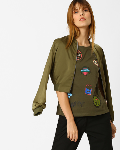 Crew-Neck T-shirt With Badge Print By Vero Moda ( Green )