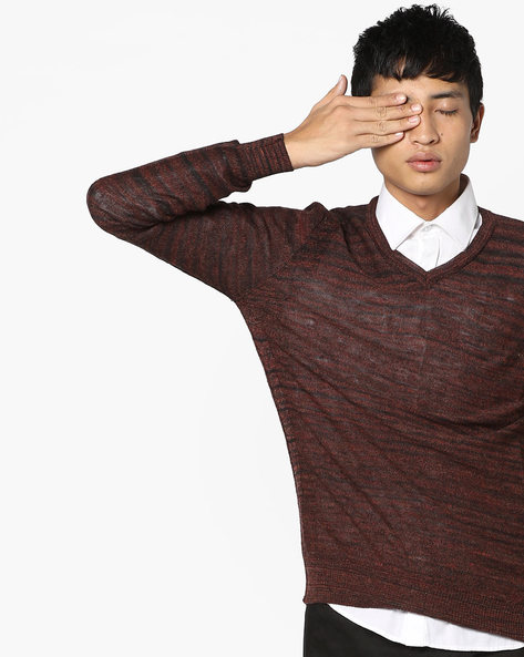 Striped V-neck Pullover By GAS ( 1286 )