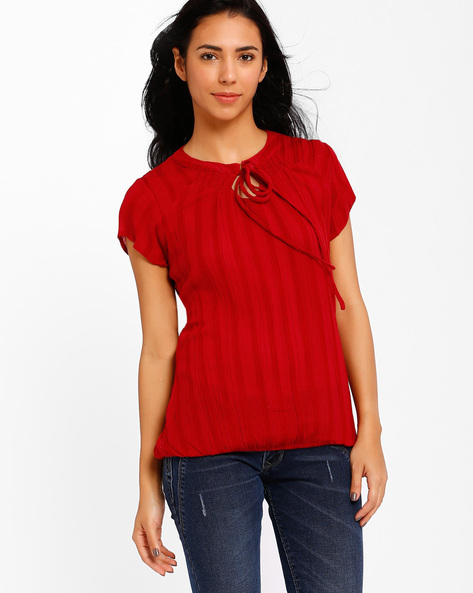 Striped Top With Tie-Up Detail By Style Quotient By Noi ( Red )