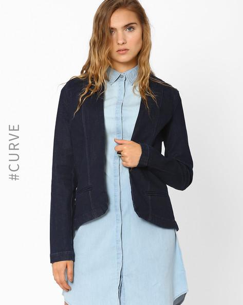 Shawl Collar Denim Jacket By AJIO ( Blue )