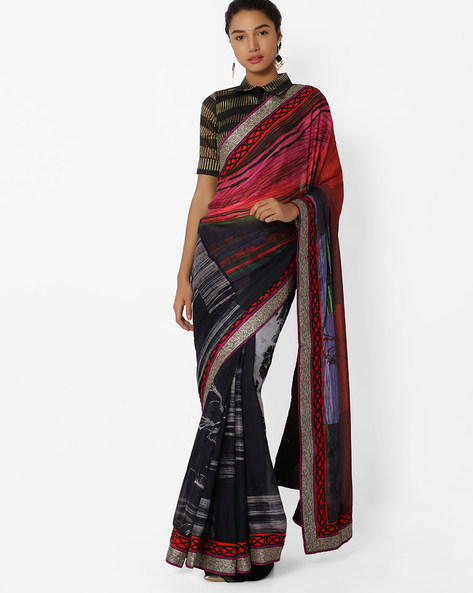 Printed Saree With Contrast Border By Mahotsav ( Black )