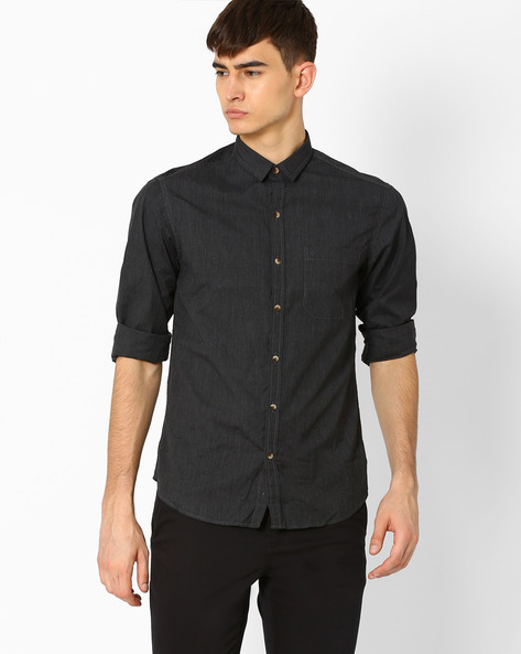 Classic Shirt With Patch Pocket By JOHN PLAYERS ( Black )