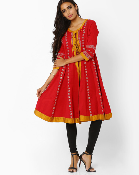 Open-Front Kurta With Flared Hem By AJIO ( Red )