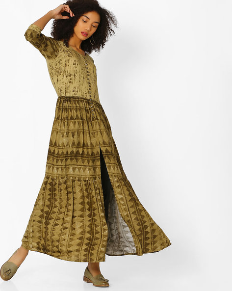 A-line Kurta With Front Slit By Shree ( Olive )