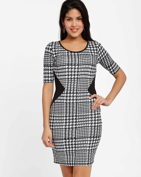 Printed Bodycon Dress By Candies By Pantaloons ( Black )