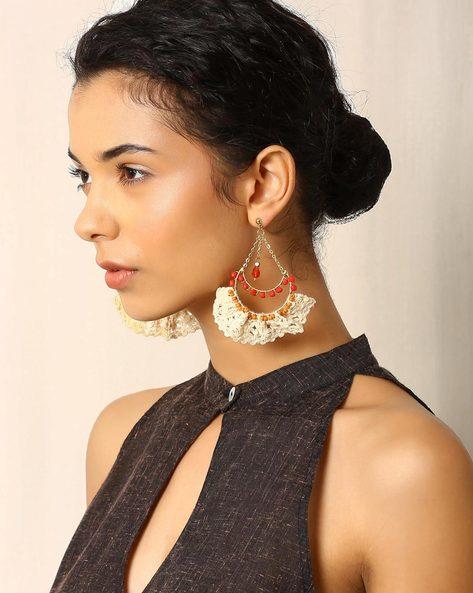 Cotton Crochet Metallic Beaded Earrings By Indie Picks ( White )