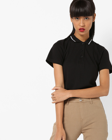 Polo T-shirt With Contrast Tipping By Project Eve WW Athleisure ( Black )
