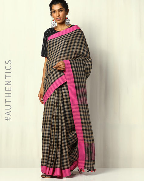 Handloom Bengal Pure Linen Check Saree With Pompoms By Indie Picks ( Multicolour ) - 460107173001