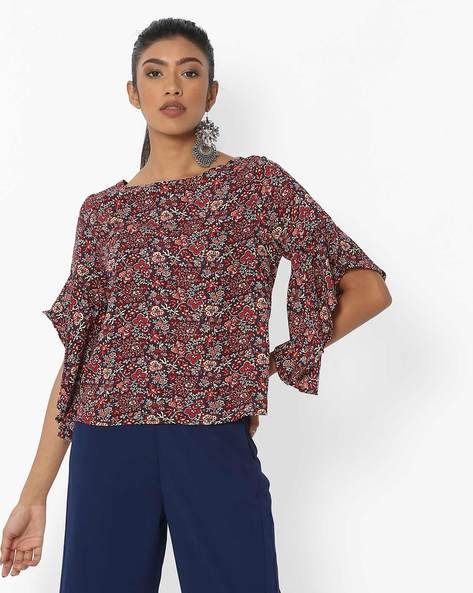 Floral Printed Top With Flared Sleeves By DNMX ( Black )