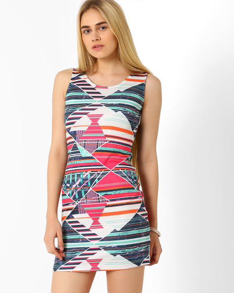Abstract Print Sleeveless Dress By Candies By Pantaloons ( Pink )