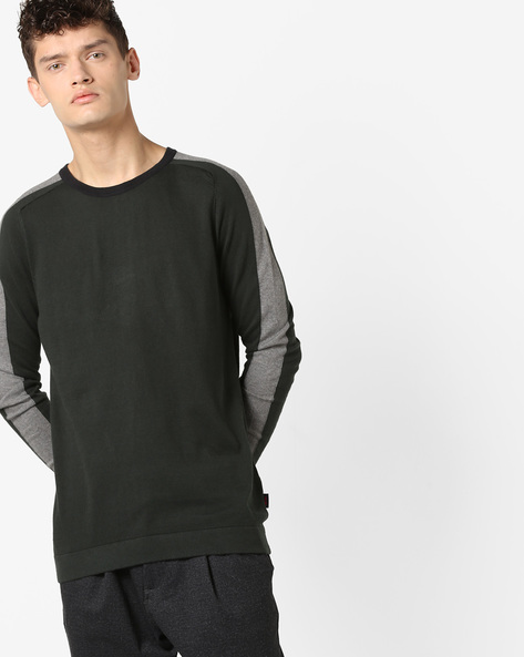 Crew-Neck Pullover With Contrast Panels By Jack & Jones ( Grey )