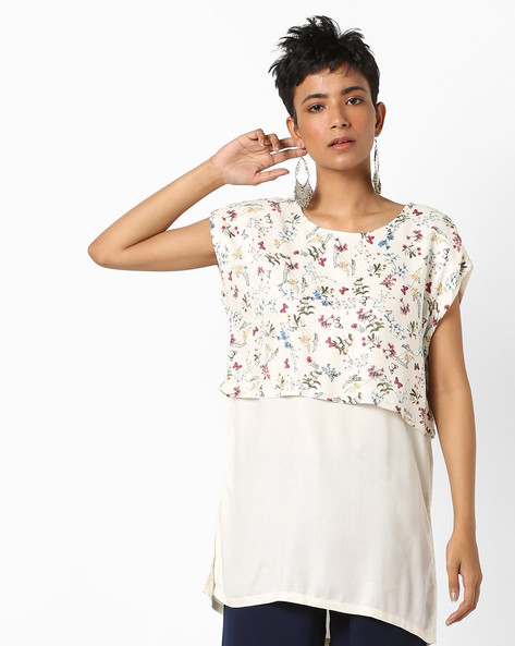 Printed Twofer Tunic With Cap Sleeves By AJIO ( Offwhite )