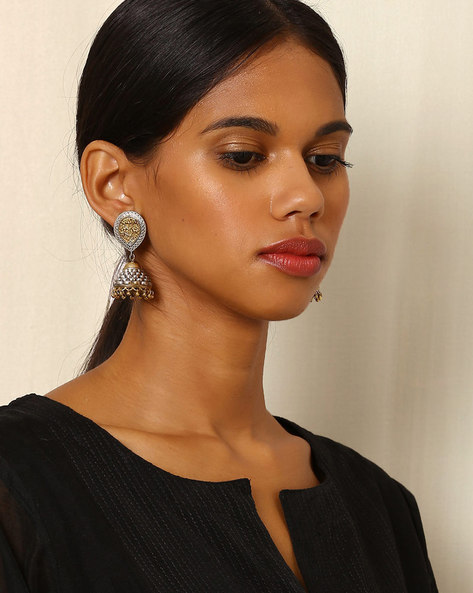Two-Toned Brass Jhumkas By Indie Picks ( Silvergold )