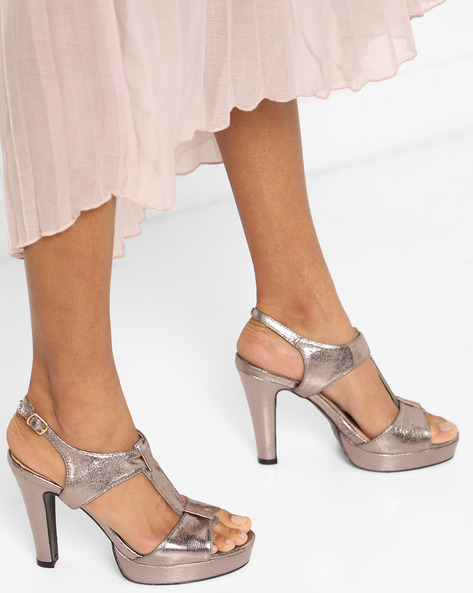 Peep-Toe Platforms With Ankle Strap By AJIO ( Pewter )