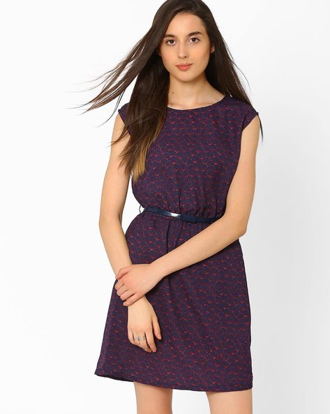 Printed Dress With Belt By CHM ( Blue )