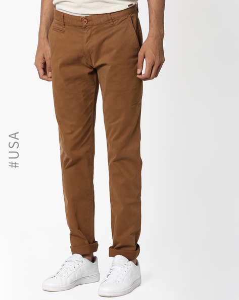 Mid-Rise Flat-Front Chinos By Aeropostale ( Brown )