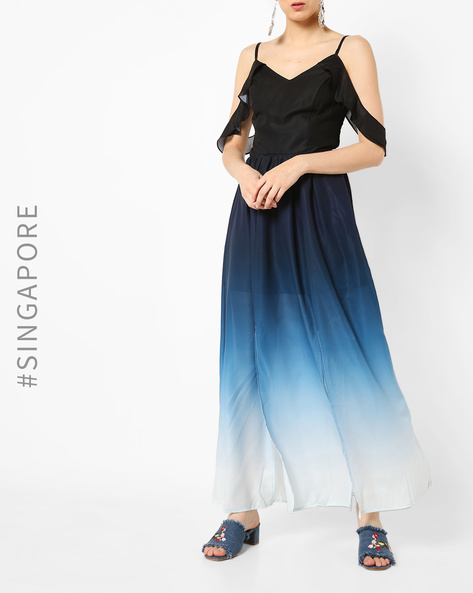 Ombre-Dyed Strappy Maxi Dress By MDS ( Navyblue )