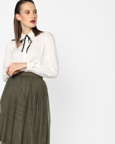 High-Low Shirt With Tie-Up By Vero Moda ( Whiteswan )