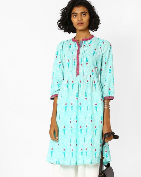 Printed Kurta With Embroidery By AJIO ( Teal )