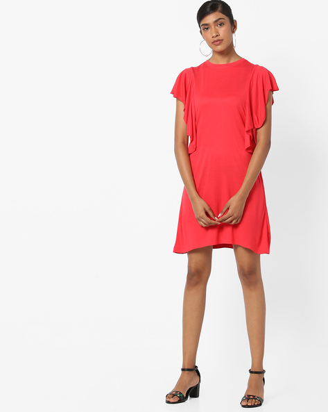 Bodycon Dress With Ruffled Sleeves By AJIO ( Red )