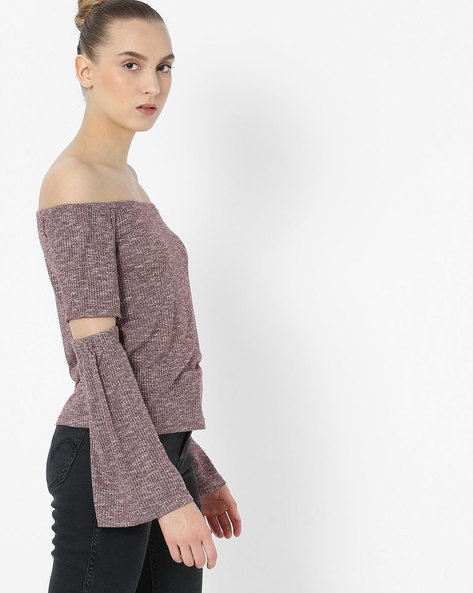 Off-Shoulder Top With Bell Sleeves By Only ( Maroon )