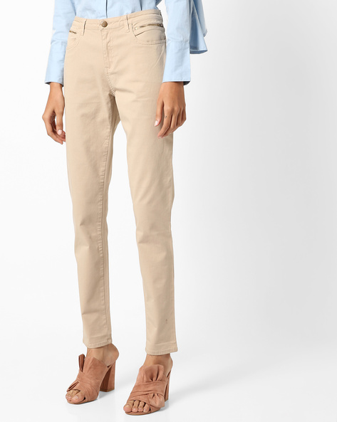 Skinny Fit Ankle-Length Trousers By Project Eve WW Casual ( Beige )