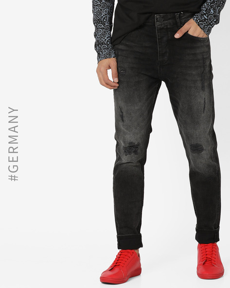 Lightly Distressed Slim-Fit Jeans By Just Rhyse ( Black )