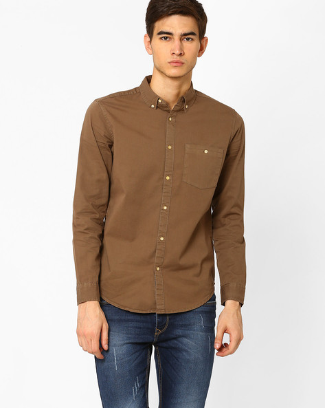 Slim Fit Shirt With Button-Down Collar By Blue Saint ( Lightbrowngold )