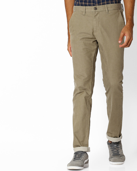 Tapered Fit Yarn-Dyed Twill Chinos By NETPLAY ( Khaki )