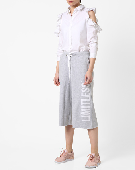Typographic Print Track Pants With Drawstring Waist By AJIO ( Lightgrey )