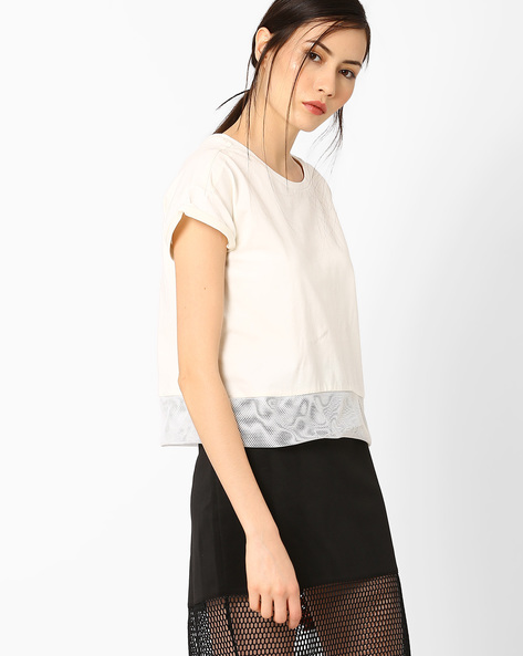 Boxy Top With Upturned Hems By AJIO ( Offwhite )