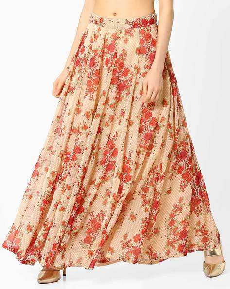 Floral Print Maxi Skirt By AJIO ( Beige )