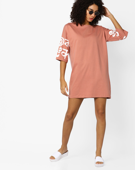 Shift Dress With Placement Print By AJIO ( Nude )