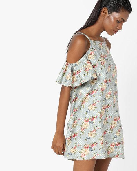 Strappy Cold-Shoulder Floral Dress By Sassafras ( Multi )
