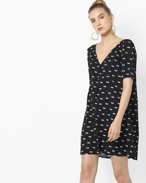 Printed High-Low Shift Dress By Glamorous ( Black )