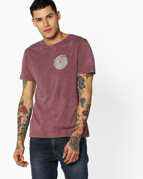 Crew-Neck T-shirt With Placement Print By AJIO ( Maroon )