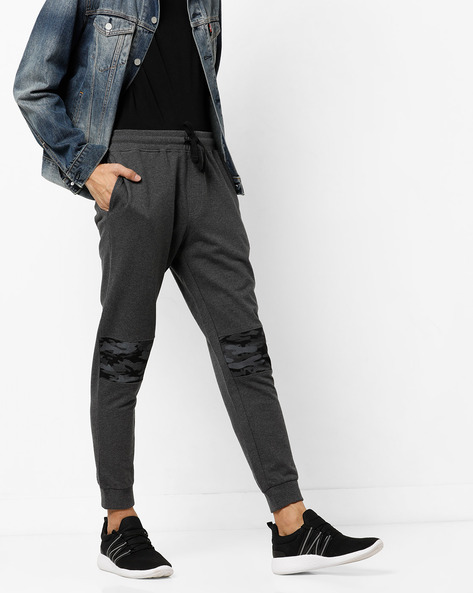 Mid-Rise Joggers With Camo Panel By AJIO ( Anthracite )