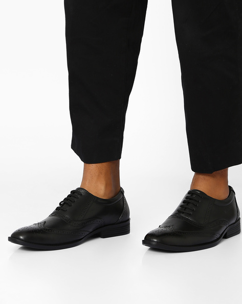 Leather Derby Shoes With Perforations By VALENTINO ( Black )